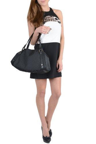 Gucci Women's Black Canvas Leather Trimmed Guccissima Print Hobo Shoulder Bag Handbag