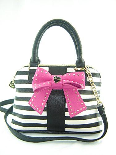 Betsey Johnson Small Dome Crossbody Handbag Hopless Romantic Black Creme Multi