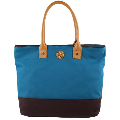 Tory Burch Dipped Canvas SMALL Jaden Tote in Electric Eel & Coconut