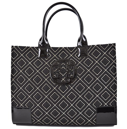 Tory Burch Women's Black Gold Quilted Ella Purse