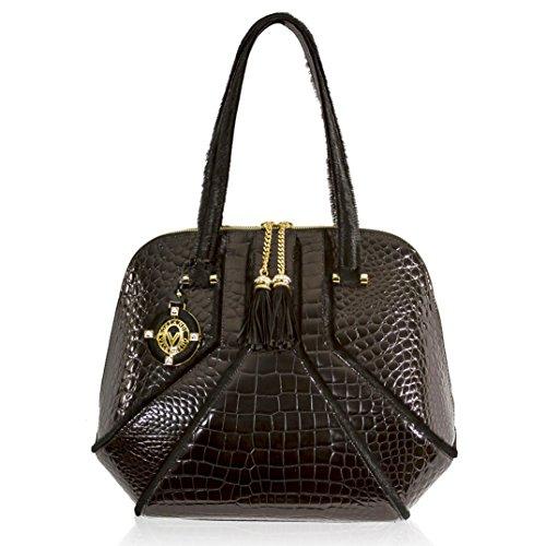 Valentino Orlandi Italian Designer Black Croc & Haircalf Leather Large Purse Bag