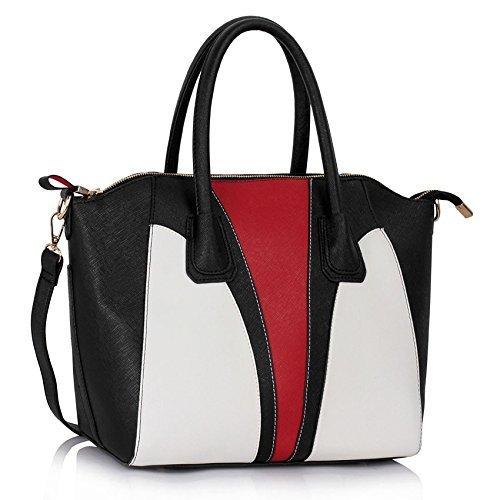 Black White Red Ladies Designer Handbag with Contrast Stitching Twin Handles