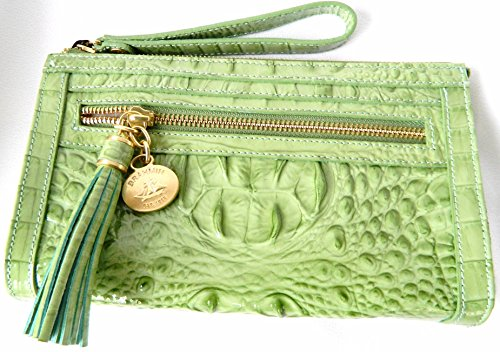 Brahmin Anna Wristlet Aloe Glossy Melbourne Croco Embossed Leather