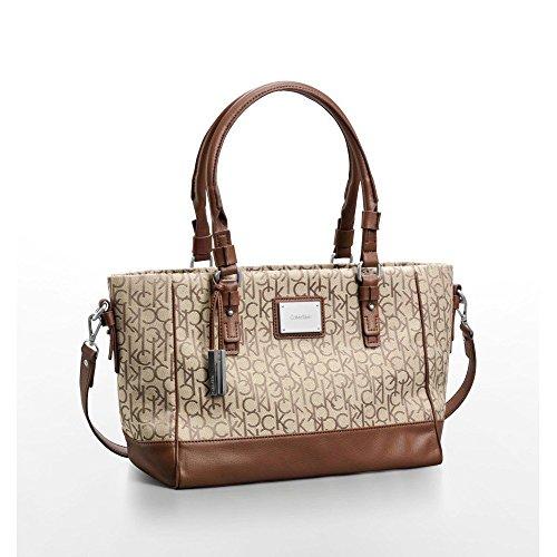 Calvin Klein Womens Logo Jacquard City Shopper Tote Bag Natural