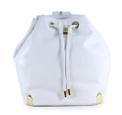 Vince Camuto Janet Backpack Snow White Leather Drawstring Shoulder Bag
