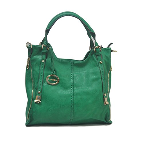 "SORRENTINO Sori Collection ""393"" Lucky Double Zipper Tote Designer Inspired Handbag for Classy Women"