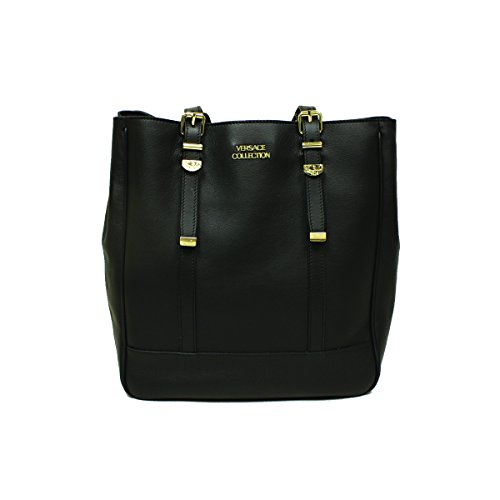 Versace 796430 Versace Collection Black Leather Shopping Tote Bag