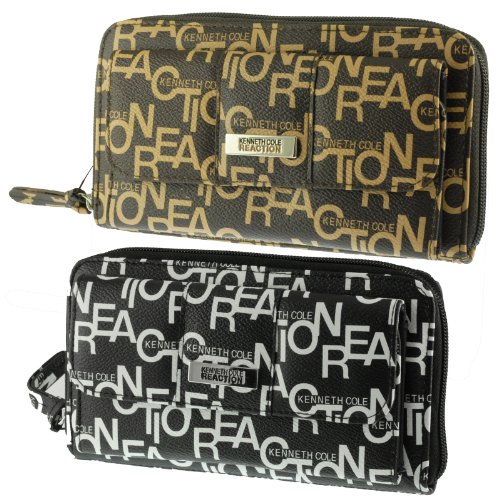 Kenneth Cole Reaction Womens Organizer Clutch Wallet Zip Around w/ Exterior Snap Monagram!