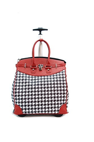 Mad Red HOUNDSTOOTH Rollie Tote (Foldable)