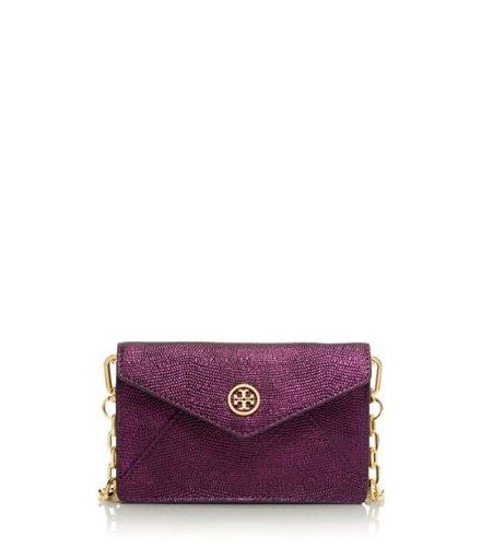 Tory Burch Brittany Envelope Crossbody Metallic Embossed Leather Designer Handbag Clutch Purse Evening Bag