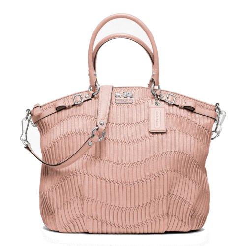 COACH Madison Lindsey Gathered Leather Tuberose Pink Satchel Bag 18643