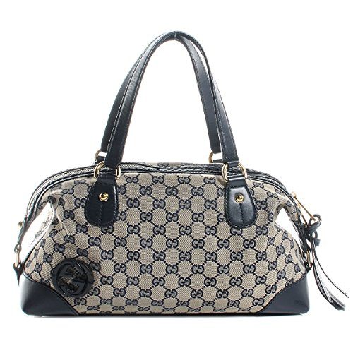 Gucci Navy Leather Brick Lane Boston Bag 296898