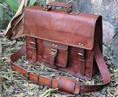 handolederco. Vintage Leather Laptop Bag 15″ Messenger Handmade Briefcase Crossbody Shoulder Bag