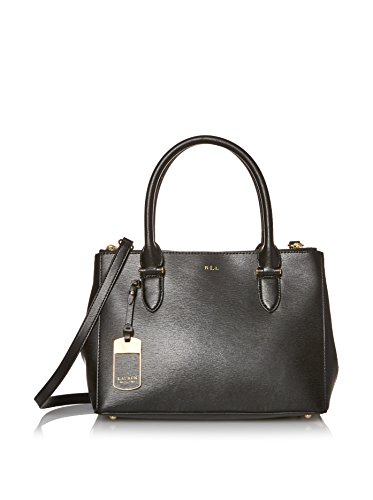 LAUREN by Ralph Lauren Women's Newbury Double Zip Shopper Black (Gold)