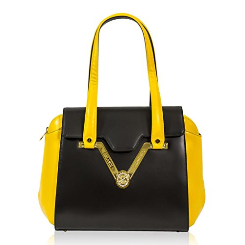 Valentino Orlandi Italian Designer Black/Yellow Leather Gillded Satchel Bag
