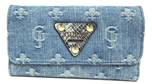 GUESS Women's Dylan SLG Slim Clutch Wallet, Blue Denim