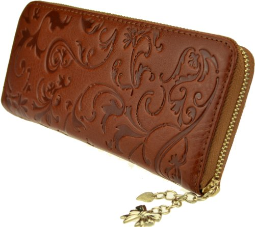 Heshe Women's Genuine Leather Purse Organizer Wallet Zippered Clutch Card Holder