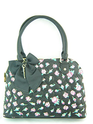 Betsey Johnson Be Mine Floral Dome Handbag Purse Black Multi
