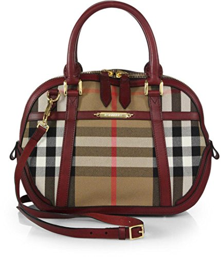 Burberry Orchard Small Bowling Tote Bag in House Check with Coca Deep Claret Leather