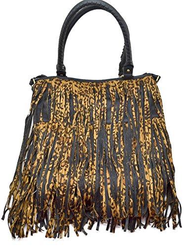 Steve Madden Bfringer Leopard Tote Shoulder Bag, Black