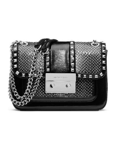 Michael Kors Sloan Stud SM Shoulder Flap Black/White Handbag