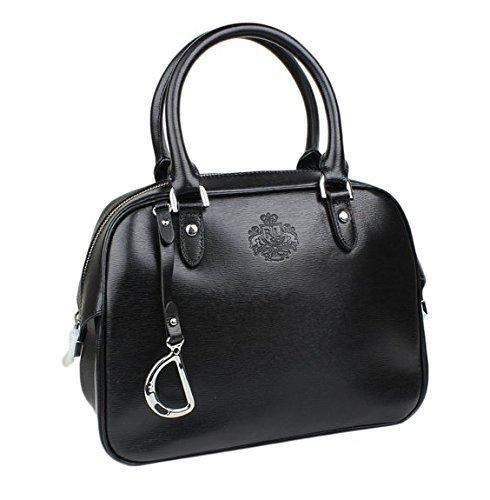 Ralph Lauren Sloan Street Black Leather Dome Satchel Purse Bag Handbag
