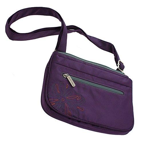 Travelon Zip Top Flower Embroidery Cross Body Nylon Purple Travel Handbag Purse