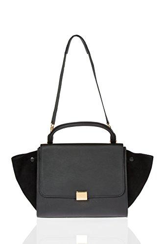 Celine Black Leather Trapeze New Authentic Medium Size Handbag