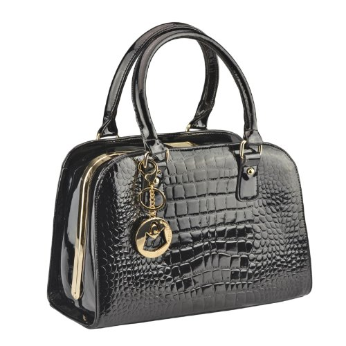 MG Collection HEDIA Black Faux Crocodile Doctor Style Structured Office Handbag
