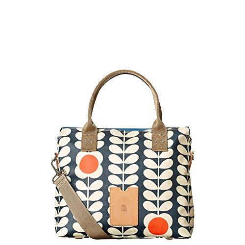 Orla Kiely Matt Laminated Zip Messenger Bag, Ink, One Size