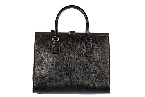 DOLCE&GABBANA women's leather handbag shopping bag purse black
