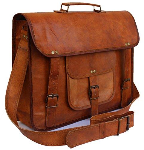 "Leather Bags Now 15"" Unisex Genuine Leather Messenger Laptop Bag Satchel *RPH*"