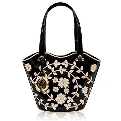 Valentino Orlandi Italian Designer Black Embroidered Leather Bucket Bag w/Flowers