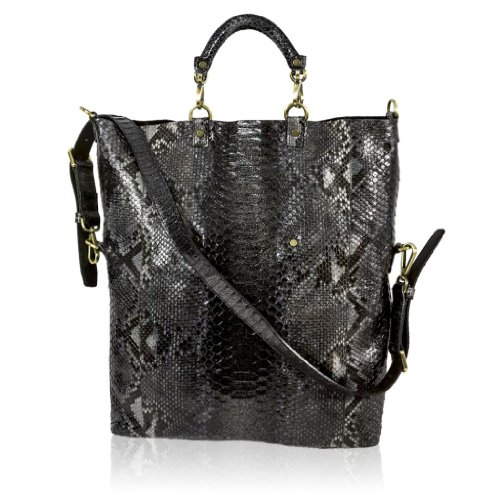 Ghibli Italian Designer Onyx Black Python Leather Large Tote Convertible Bag