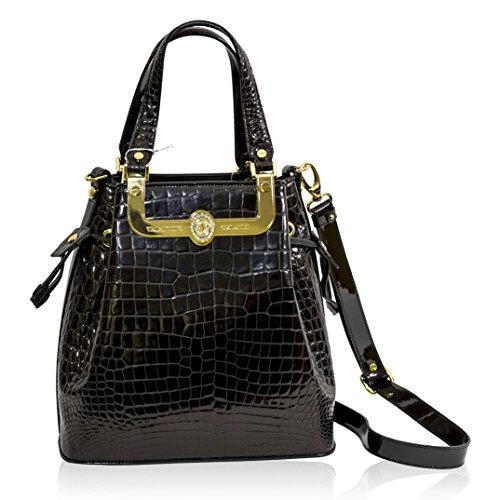 Valentino Orlandi Italian Designer Black Croc Leather Gilded Large Bucket Bag