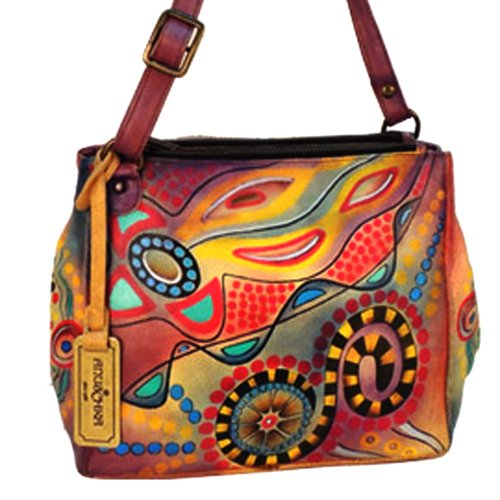 Anuschka Hand Painted Large Double Entry Shopper (Tribal Sunset)