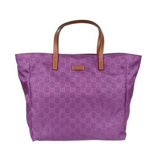 Gucci Women's Purple Canvas Leather Trimmed Tote Shoulder Bag