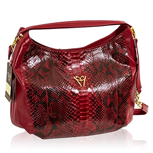Ghibli Italian Designer Garnet Red Python Leather Large Satchel Slouchy Bag