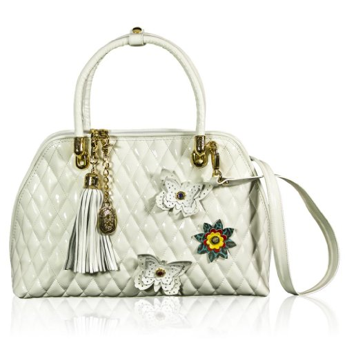Marino Orlandi Italian Designer White Quilted Patent Leather Purse Duffle Oversized Bag