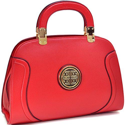 Dasein Fashion Leather Stitched Zip Around Gold Emblem Fashion Satchel, Shoulder Bag, Handbag, Tablet Bag, iPad Bag