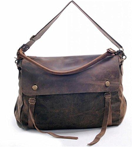 Qiangqiang Unisex Vintage Canvas Leather School Bag Fits 14″ Macbook