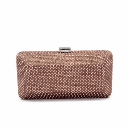 Bag Clutch Woman Polly bedeckt di strass chocolate color, dimensions in cm: 19 L x 9 H x 6 p