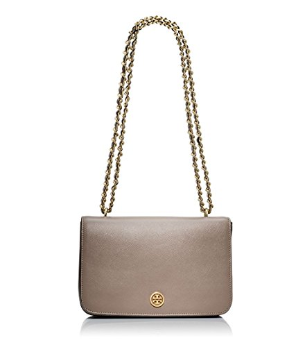 Tory Burch Robinston Women Shoulder bag Saffiano Leather Chain Strap Biege