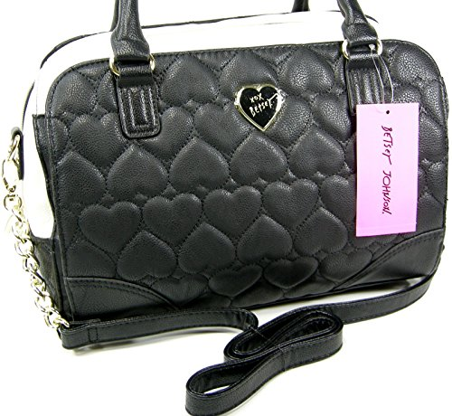 Betsey Johnson Purse Large Satchel Crossbody Shoulder Strap Hand Bag Black Puffy Quilted Hearts