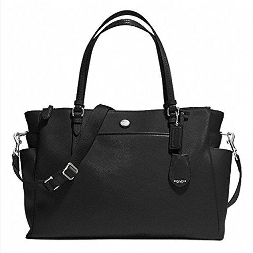 Coach Peyton Black Leather Multifunction Baby Diaper Bag F32461