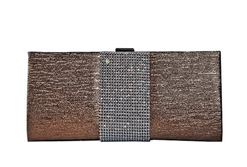 George Versailles Crystal Clutch Baguette Bag Purse Women Evening Handbag with Detachable Chain