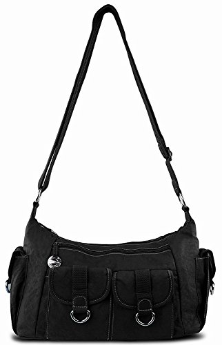 Travelon Nylon Organizer Hobo Bag with Cargo Pockets Black