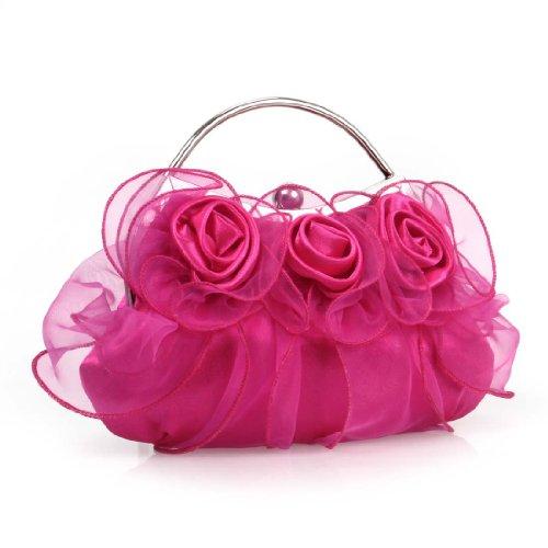 BMC Womens Silver Alloy Metal Frame Handle 3 Fabric Rose Design Fashion Handbags