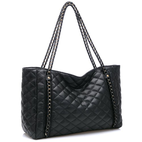 MG Collection HARVA Black Oversized Quilted Chain Link Shopper Tote