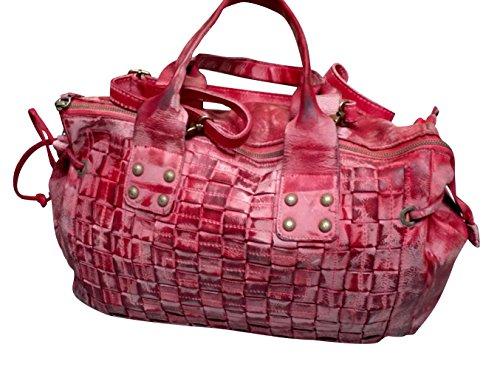 JENCA Women's Luxury Genuine Leather Washed Woven Pattern Shoulder Handbag Stachel